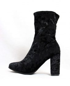 Janet Black Velvet Round Toe Chunky Heel Bootie-0