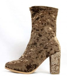 Janet Taupe Velvet Round Toe Chunky Heel Bootie-0