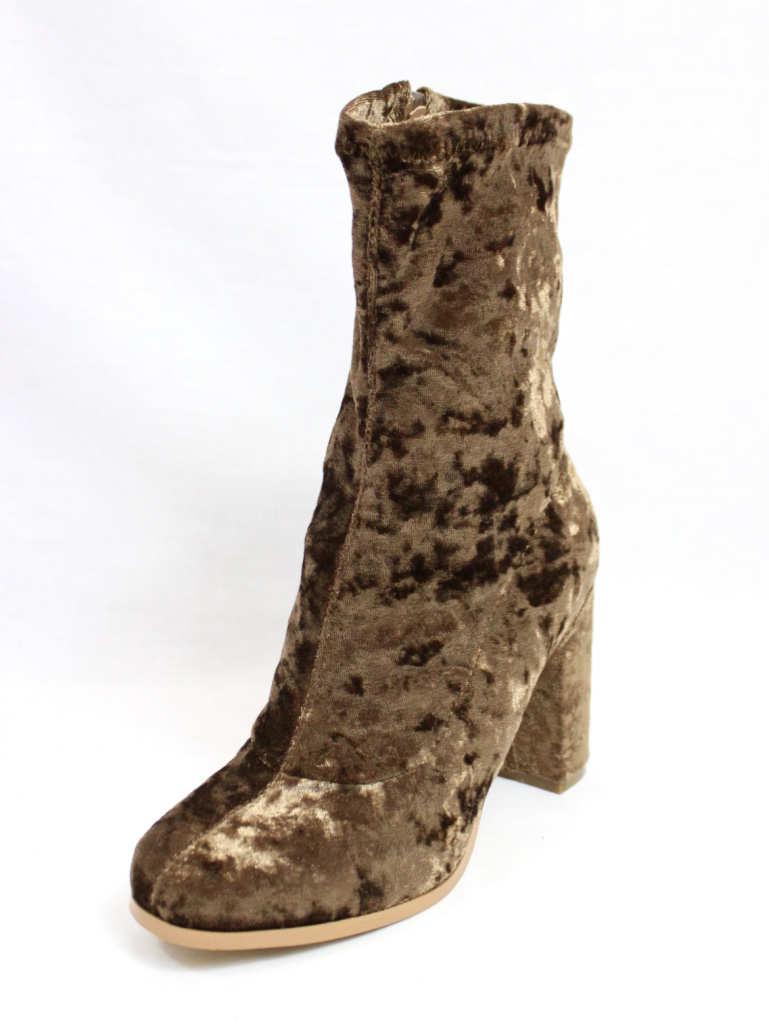 Janet Taupe Velvet Round Toe Chunky Heel Bootie-4413