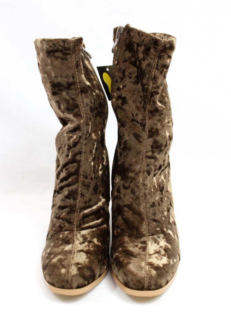 Janet Taupe Velvet Round Toe Chunky Heel Bootie-4416