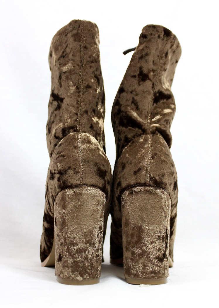 Janet Taupe Velvet Round Toe Chunky Heel Bootie-4415
