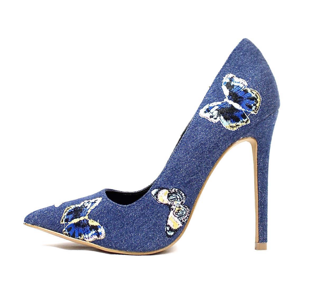 Shoe Republic Marcela Blue Denim Pointy Toe Pumps-0