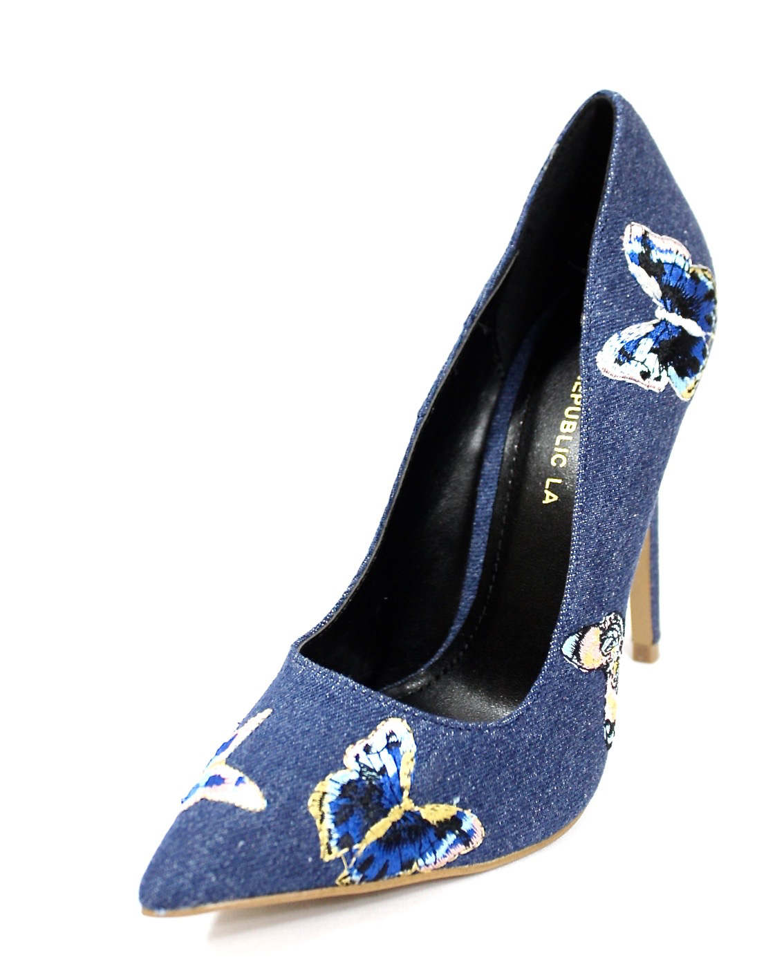 Shoe Republic Marcela Blue Denim Pointy Toe Pumps-4598