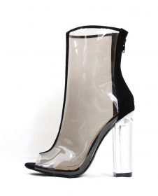 Mitsie Black Open Toe chunky Clear Perspex Lucite Heel Ankle Bootie-0
