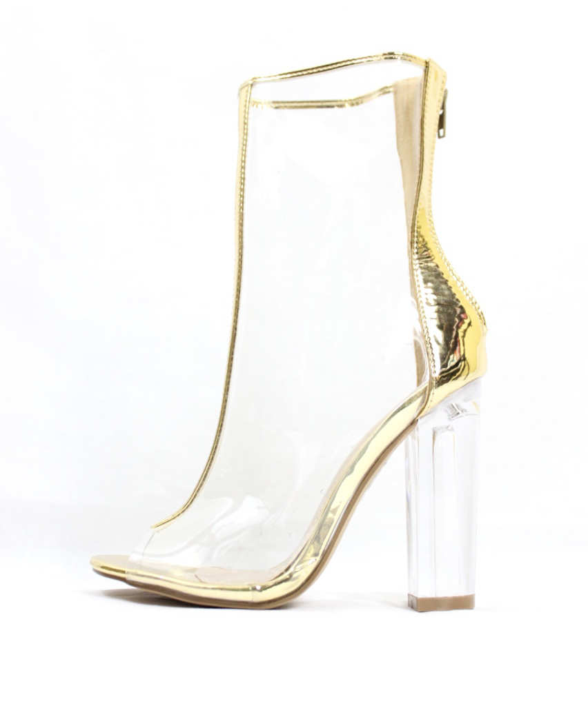 326a130d9fc Mitsie Gold Open Toe chunky Clear Perspex Lucite Heel Ankle Bootie-0