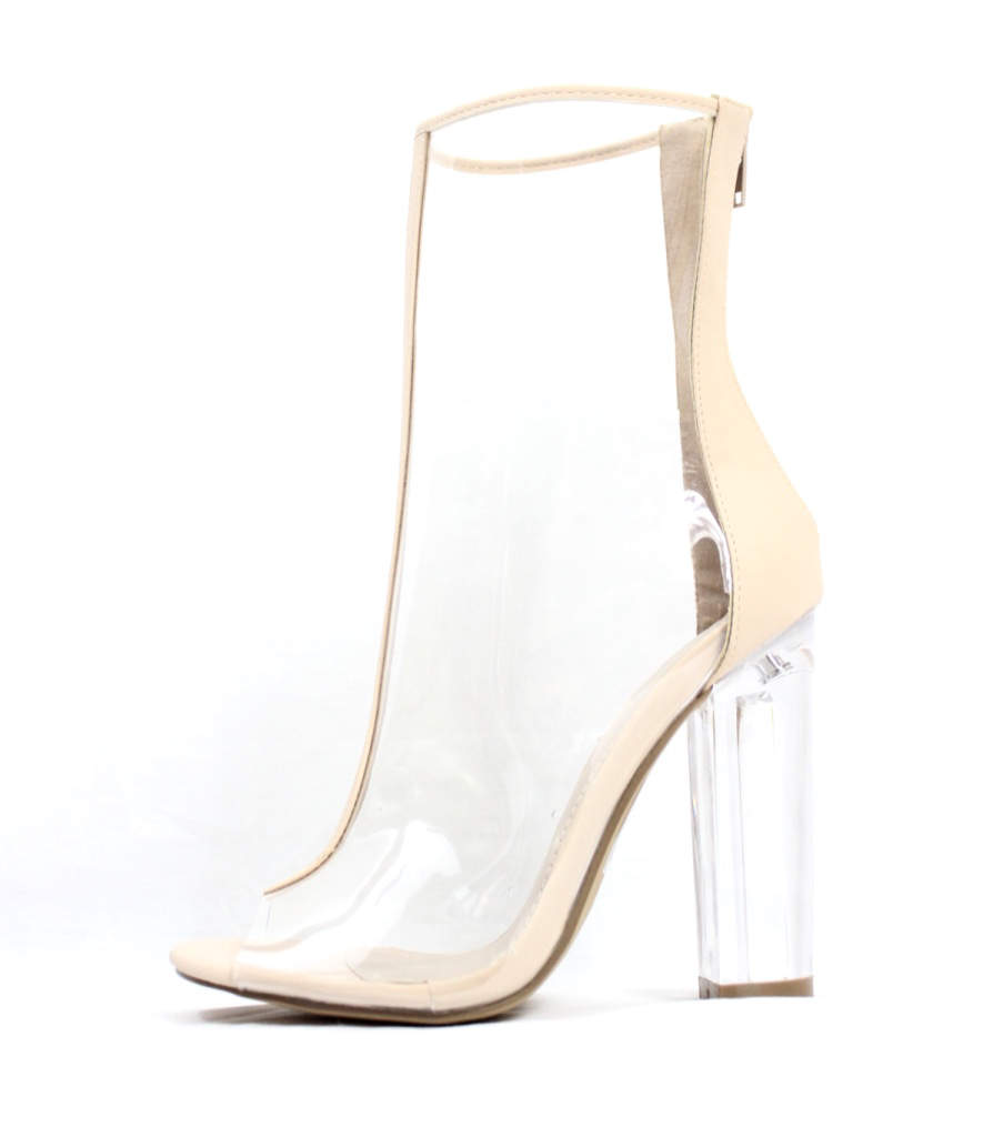 Mitsie Transparent Open Toe chunky Clear Perspex Lucite Heel Ankle Bootie-0