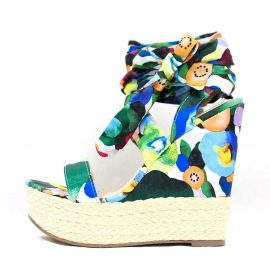 Shoe Republic notion Green Floral Open Toe Strappy Platform Espadrille Wedge -0