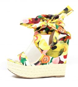 Shoe Republic notion Yellow Floral Open Toe Strappy Platform Espadrille Wedge -0