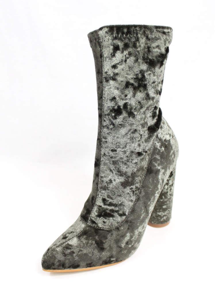 Paw-26 Olive Velvet Pointy Toe Chunky Heel Bootie-4384