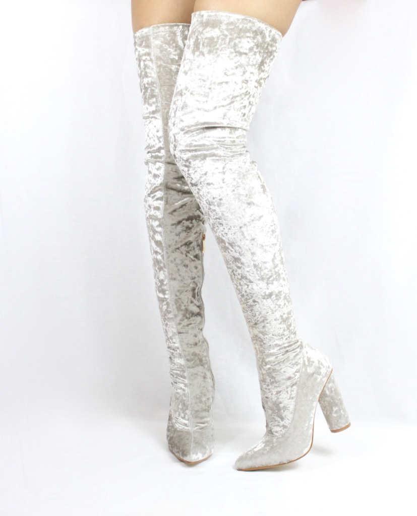 bab4b1a3738 Paw Light Grey Velvet Pointy Toe Chunky Heel Thigh High Boots