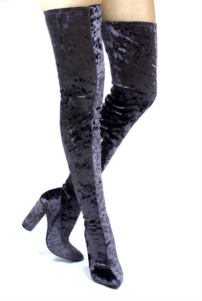 Paw-27 Purple Velvet Pointy Toe Chunky Heel Thigh High Boots-4639