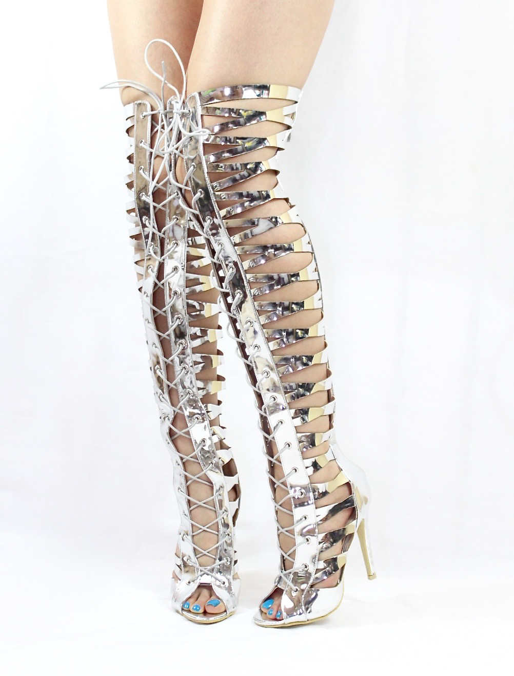 Gladiator Silver | Wowtrendz | Thigh High Lace Up Sandals Boots