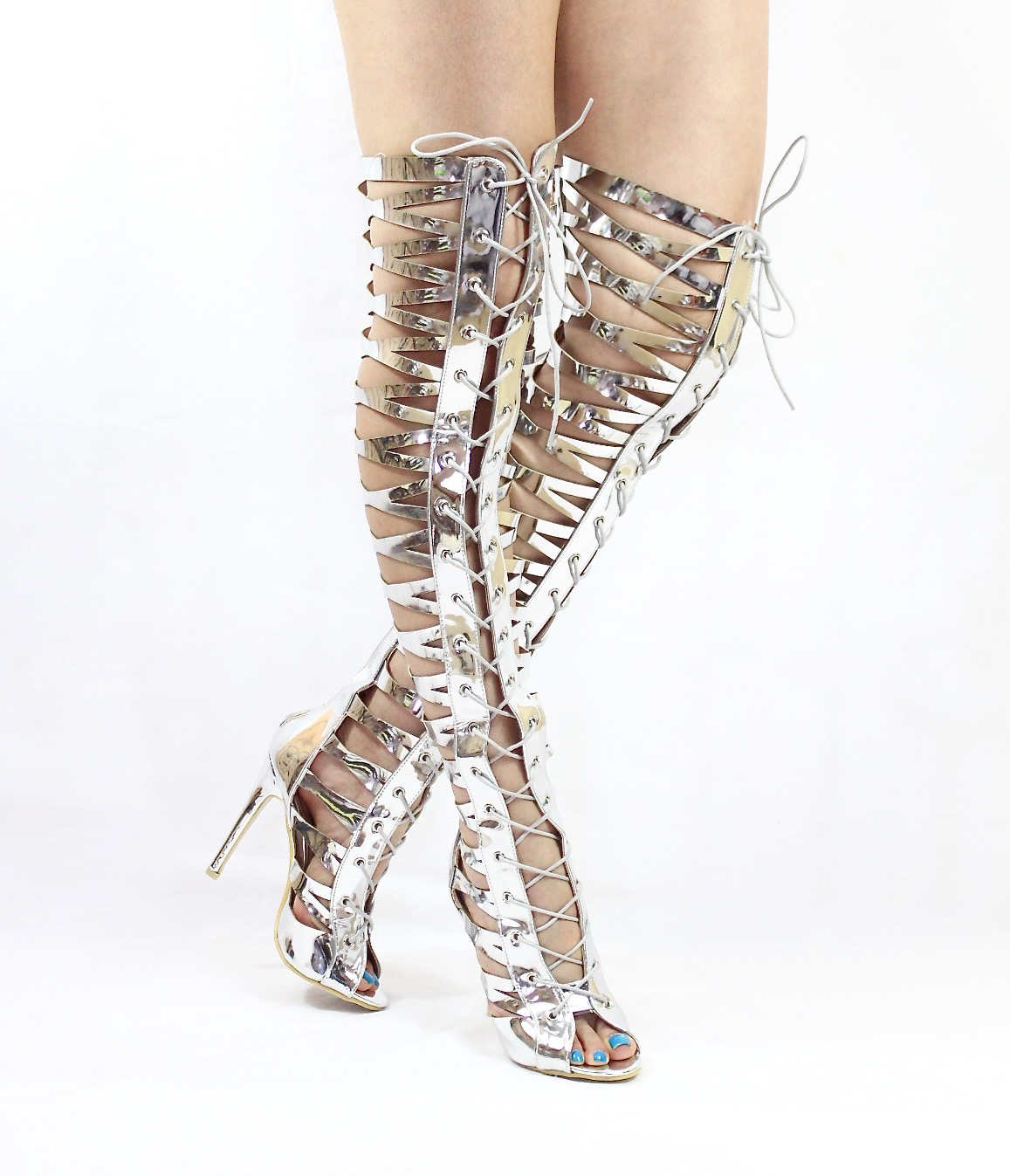 Open Toe Thigh High Lace Up Silver Gladiator Sandals Boots-4693