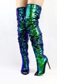 Julia-1 Thigh High Over Knee Sequin Sparkle Mermaid Open Toe Boots-0