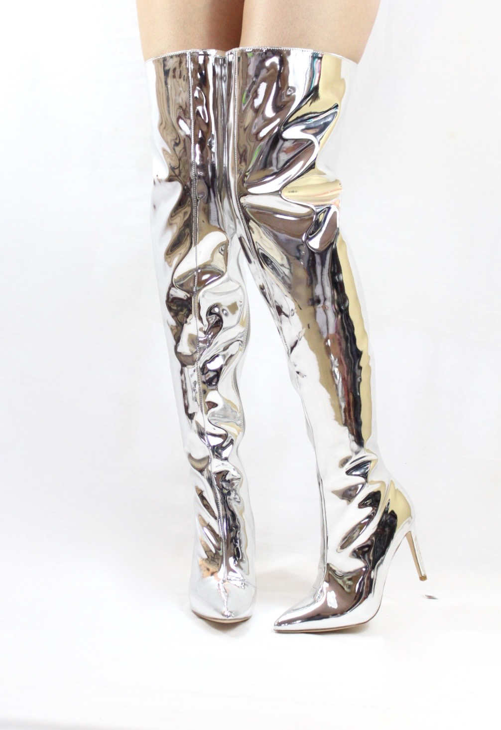 Mini-80 Thigh High Over The Knee Silver Dressy Pointy Toe Boots-0