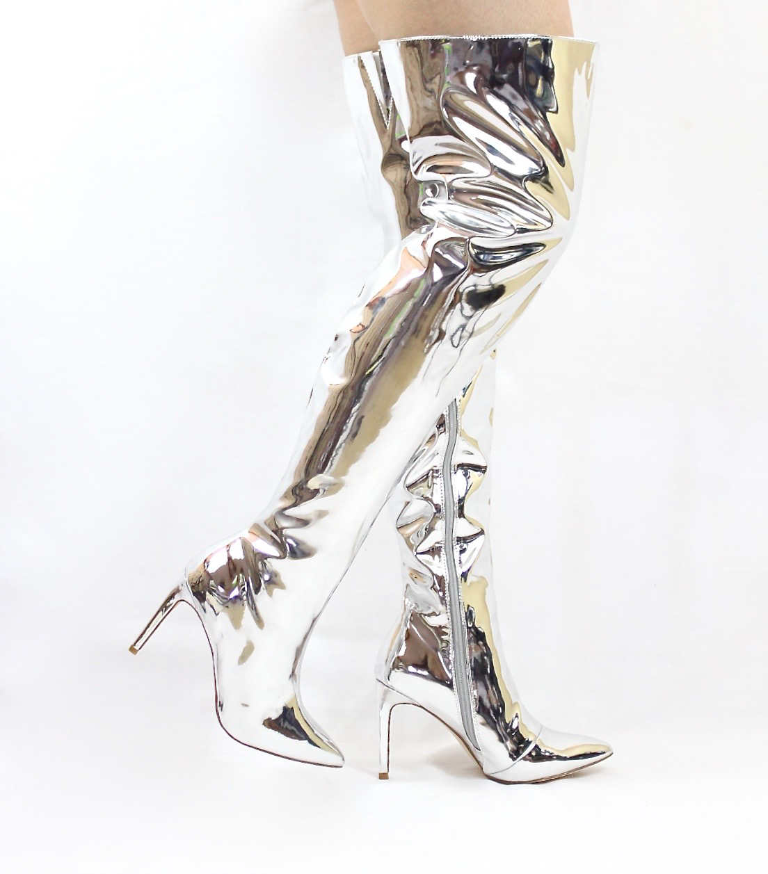 Mini-80 Thigh High Over The Knee Silver Dressy Pointy Toe Boots-4700