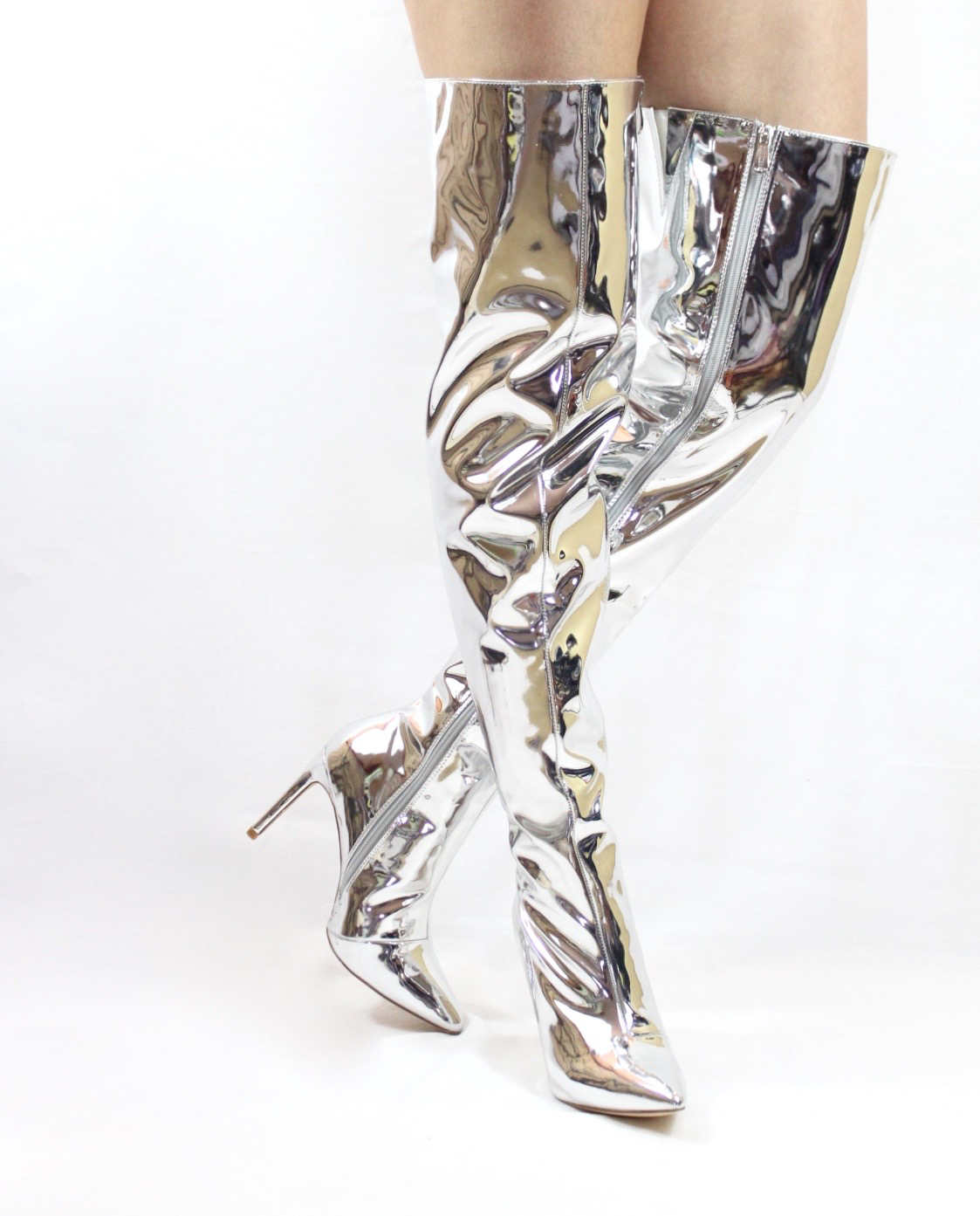 Mini-80 Thigh High Over The Knee Silver Dressy Pointy Toe Boots-4701