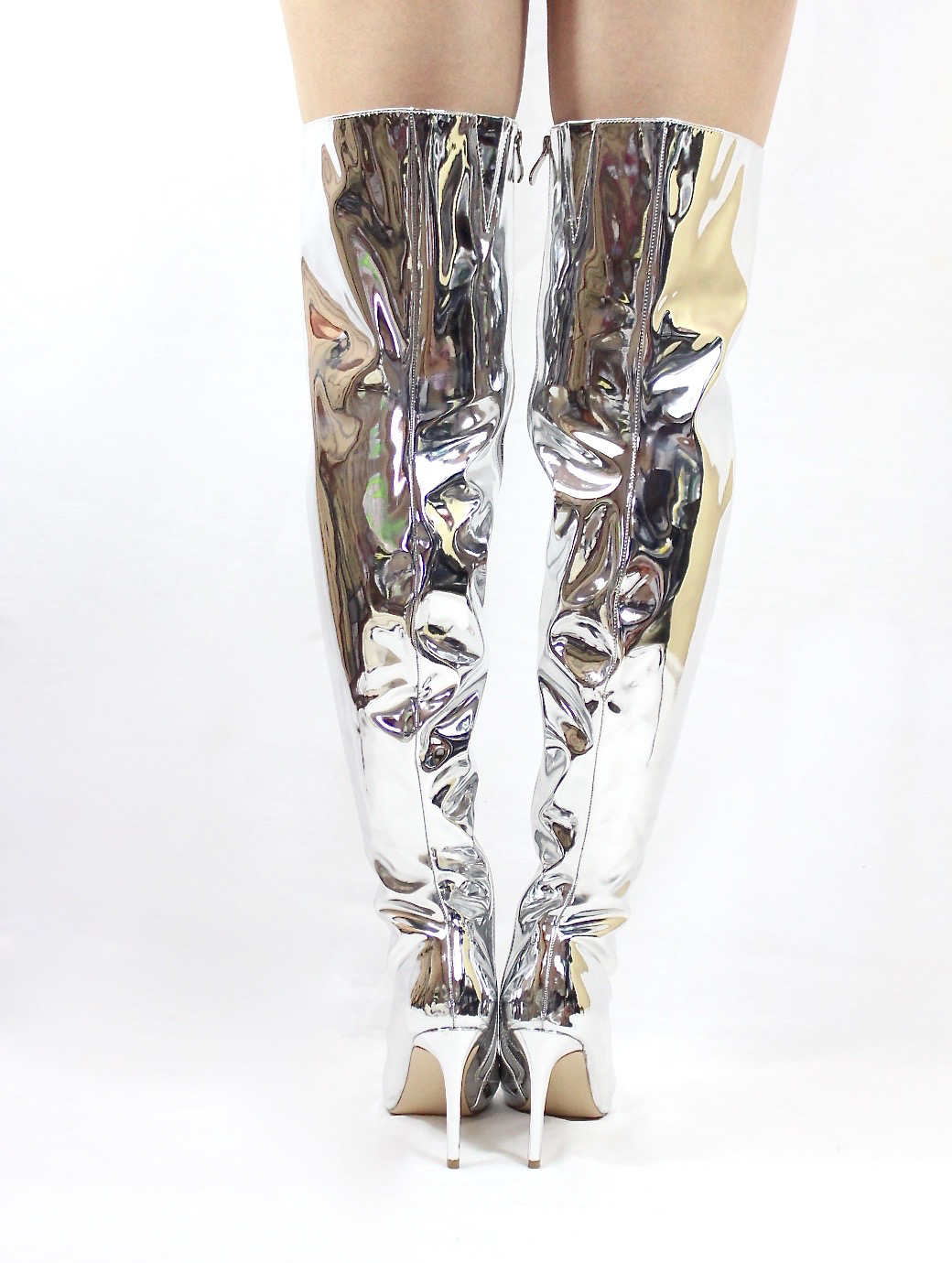 Mini-80 Thigh High Over The Knee Silver Dressy Pointy Toe Boots-4699