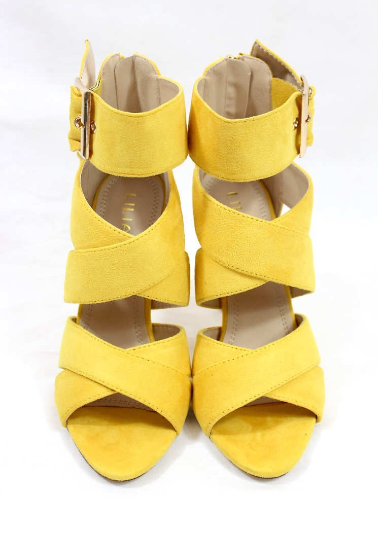 Barbara Strappy Yellow Wowtrendz Stiletto High Heel
