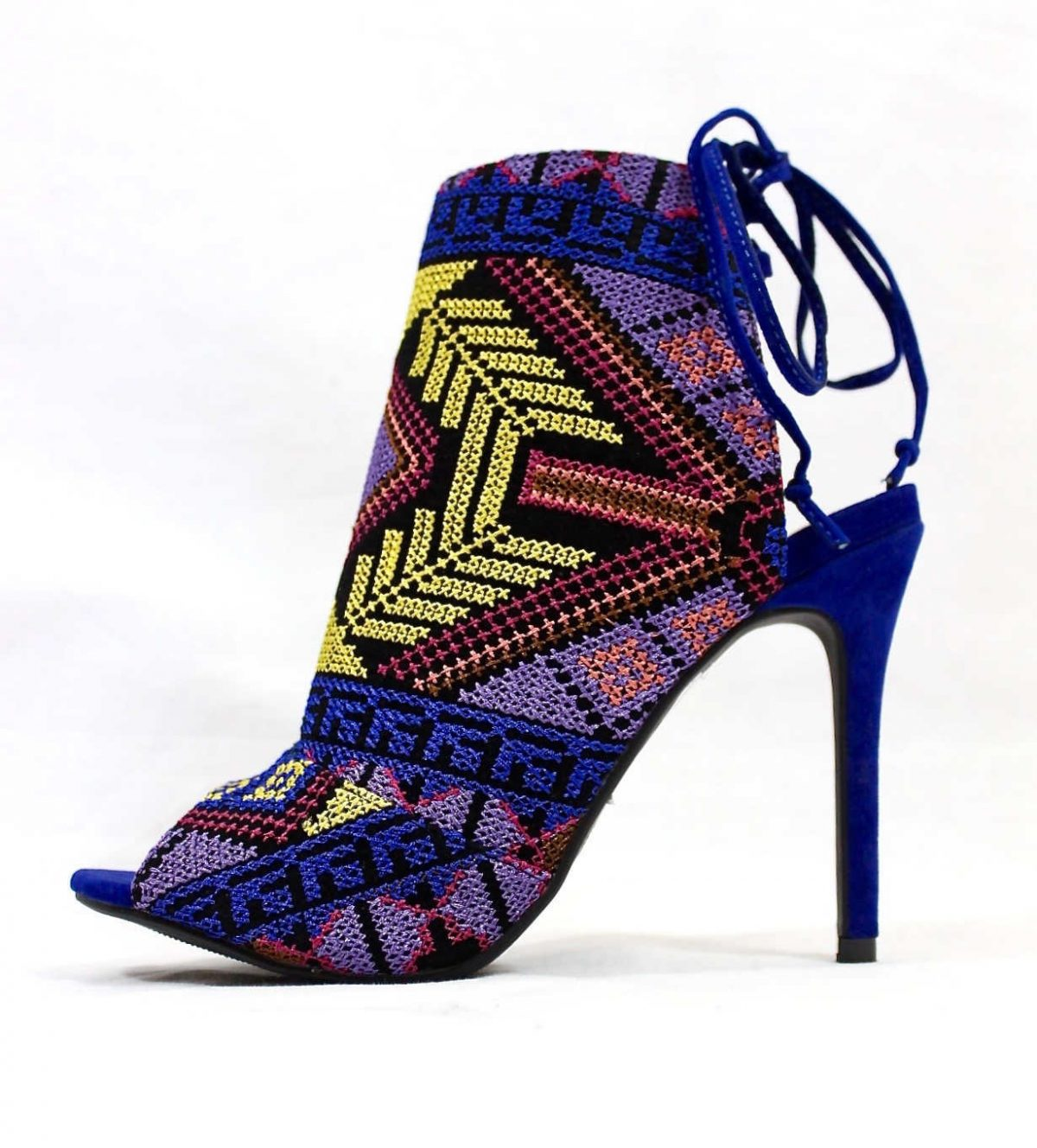 Shoe Republic Calista embroidered Stiletto Open Toe High Blue Booties-0