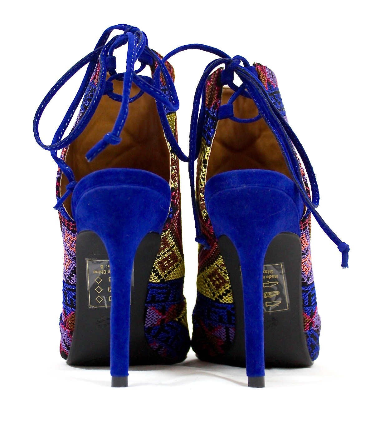 Shoe Republic Calista embroidered Stiletto Open Toe High Blue Booties-4750