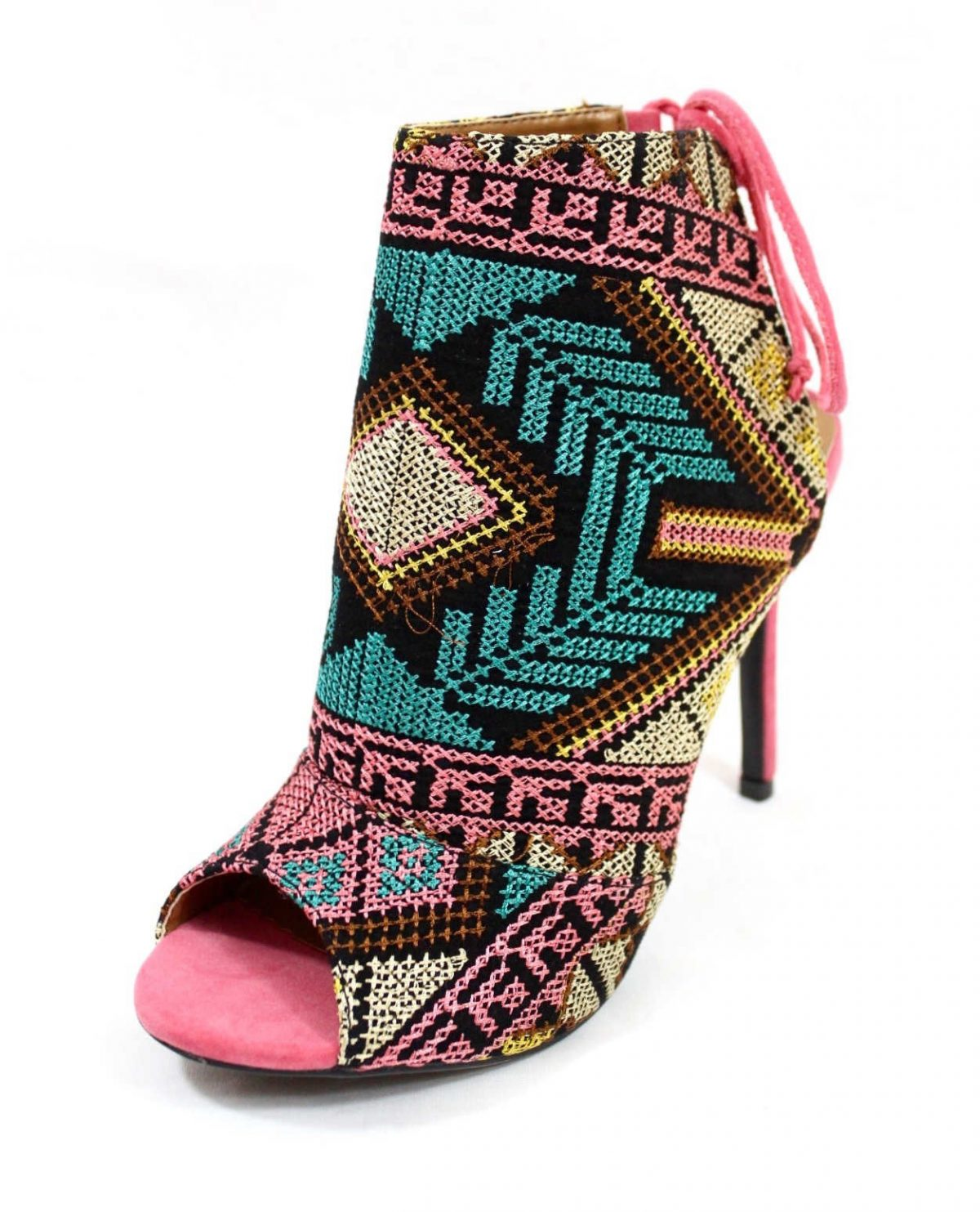 Shoe Republic Calista embroidered Stiletto Open Toe High Pink Booties-4761