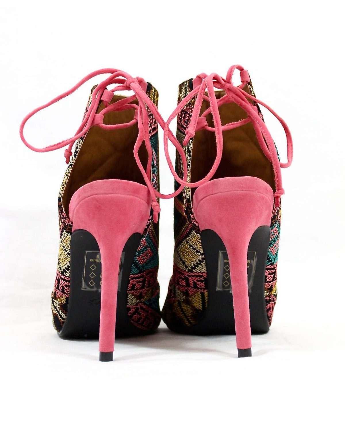 Shoe Republic Calista embroidered Stiletto Open Toe High Pink Booties-4758