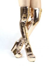 Thigh High Gladiator Platform Wedge Over the Knee Rose Gold Boots-0