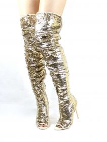 Julia-1 Thigh High Over Knee Sequin Sparkle Gold Open Toe Boots-0