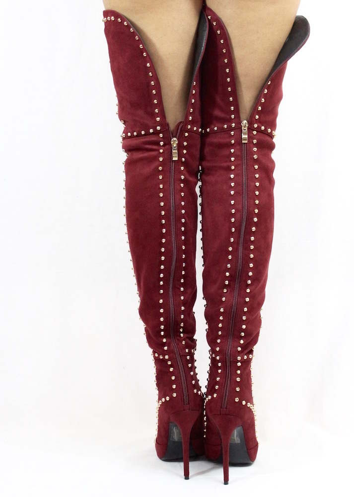 Suede Thigh High Studded Pointy Toe Boots Burgundy