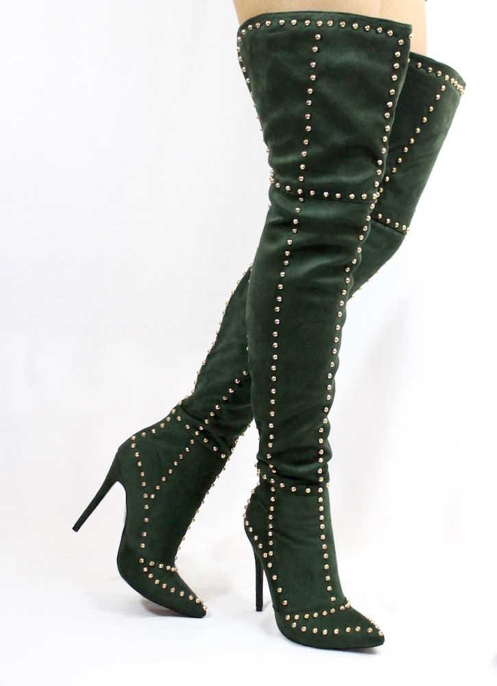 Suede Thigh High Studded Pointy Toe Boots Green