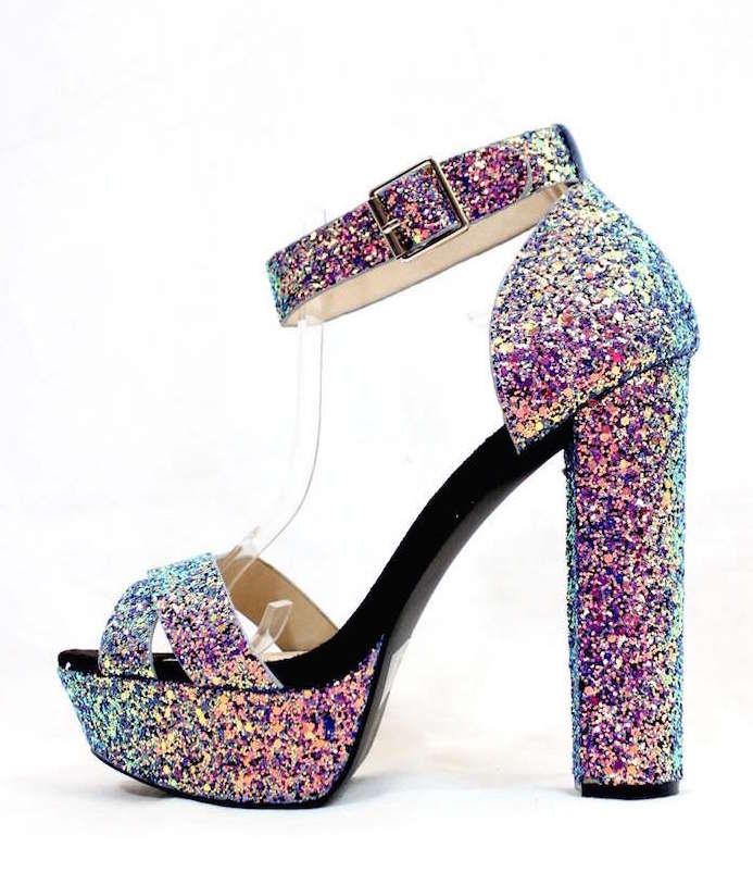 176d2a02c92 ... Qupid Open Toe Chunky Heel Platform Blue Glitter Sandals. Click ...