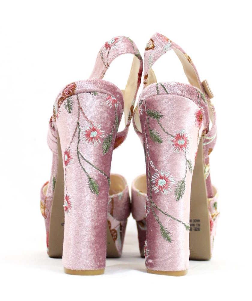 Qupid Open Toe Platform Velvet Embroidered Sandals