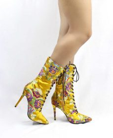 Yellow Floral Brocade Embroidered Pointy Toe Lace Up Bootie