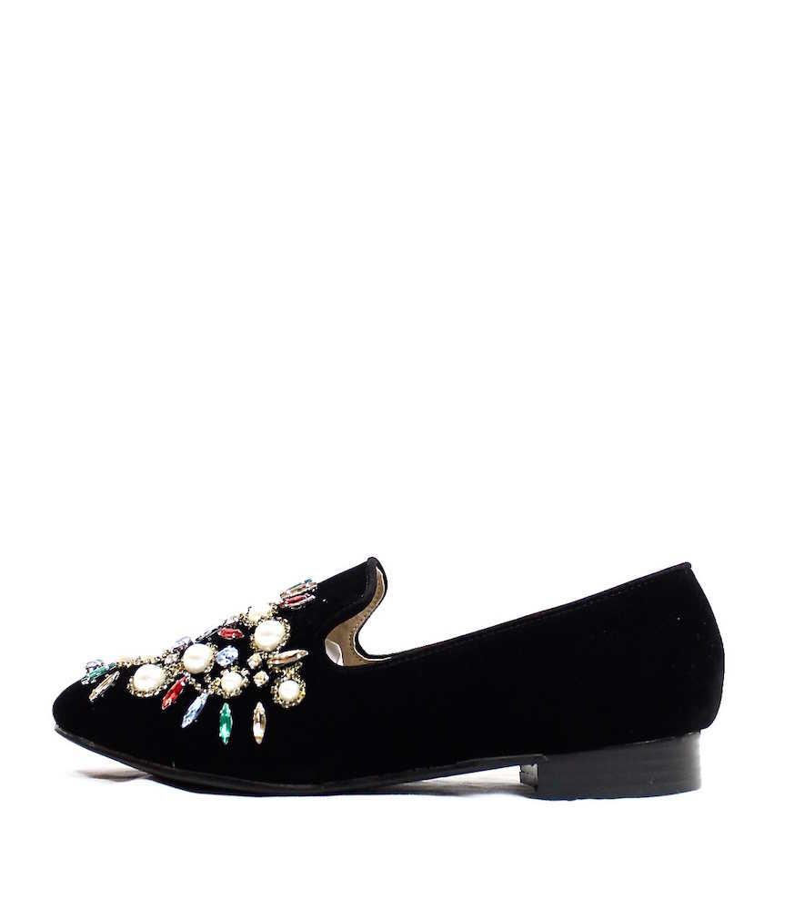 Pearl Embellished Slip-on Loafer Flats black suede