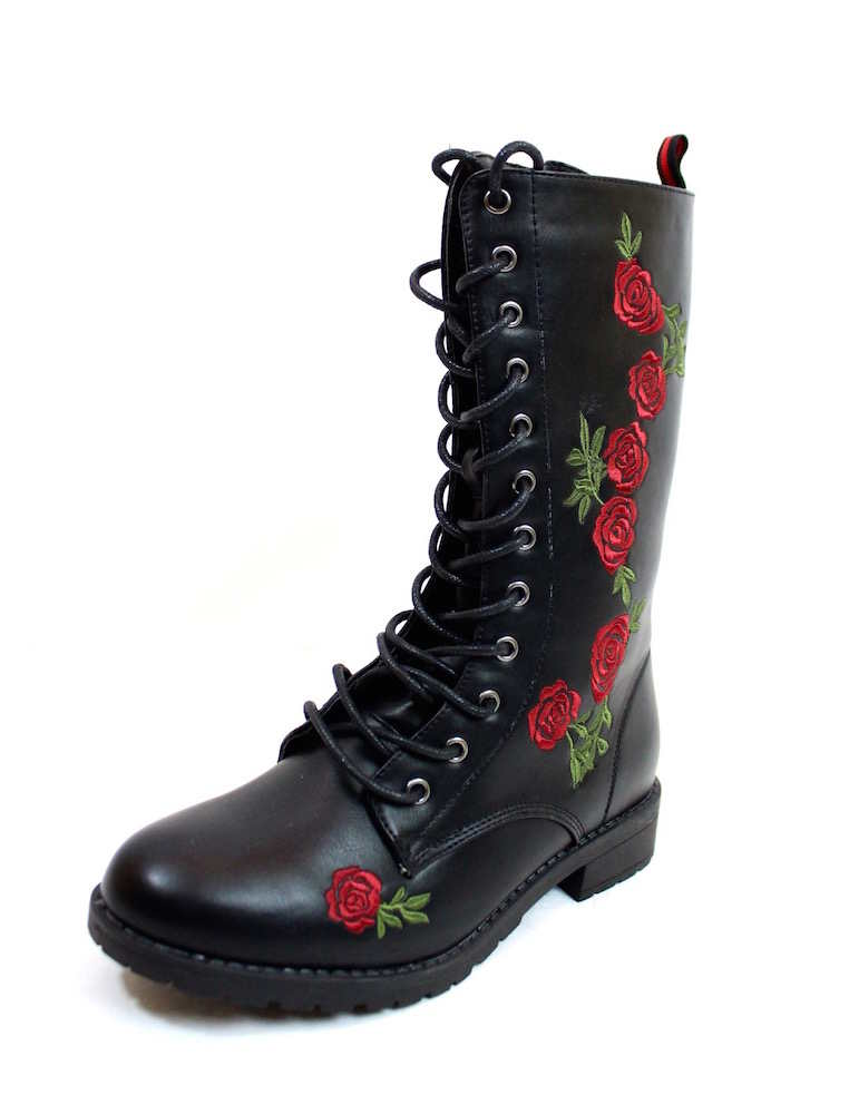 embroidered combat millitary lace-up Boots black