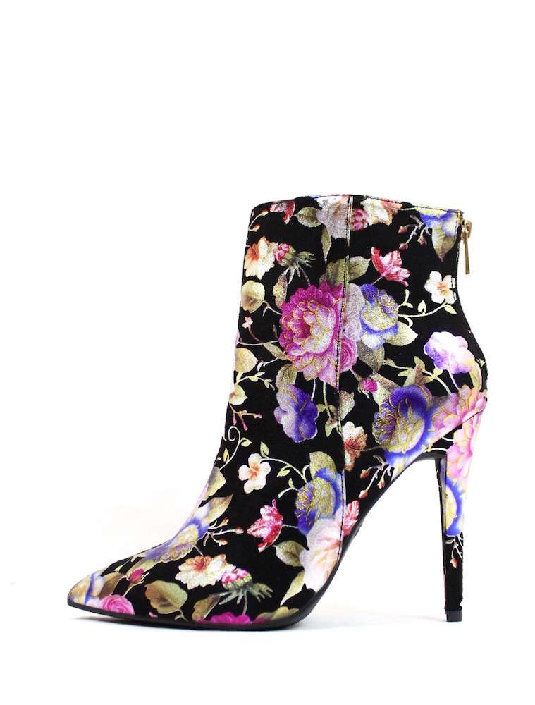 Bamboo Pointy Toe Floral Print Black Ankle Boots Bootie