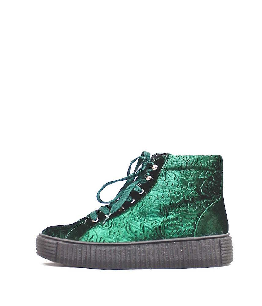 35f1c08ffba Qupid Velvet Lace Up Sneaker Green Booties
