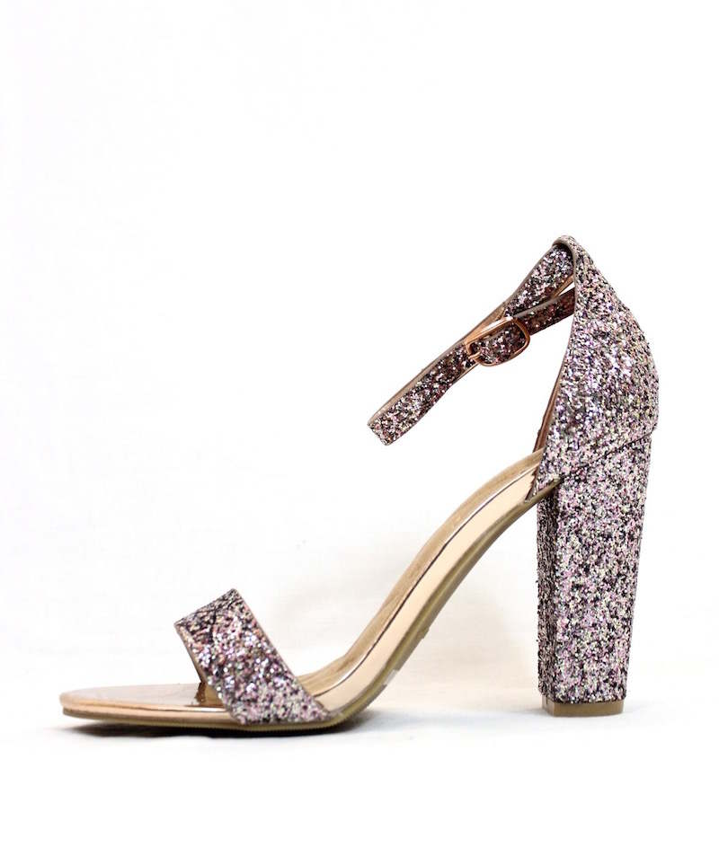 4c090fa42f2 Open Toe Blush Glitter Sparkle Block Heel Dress Sandals