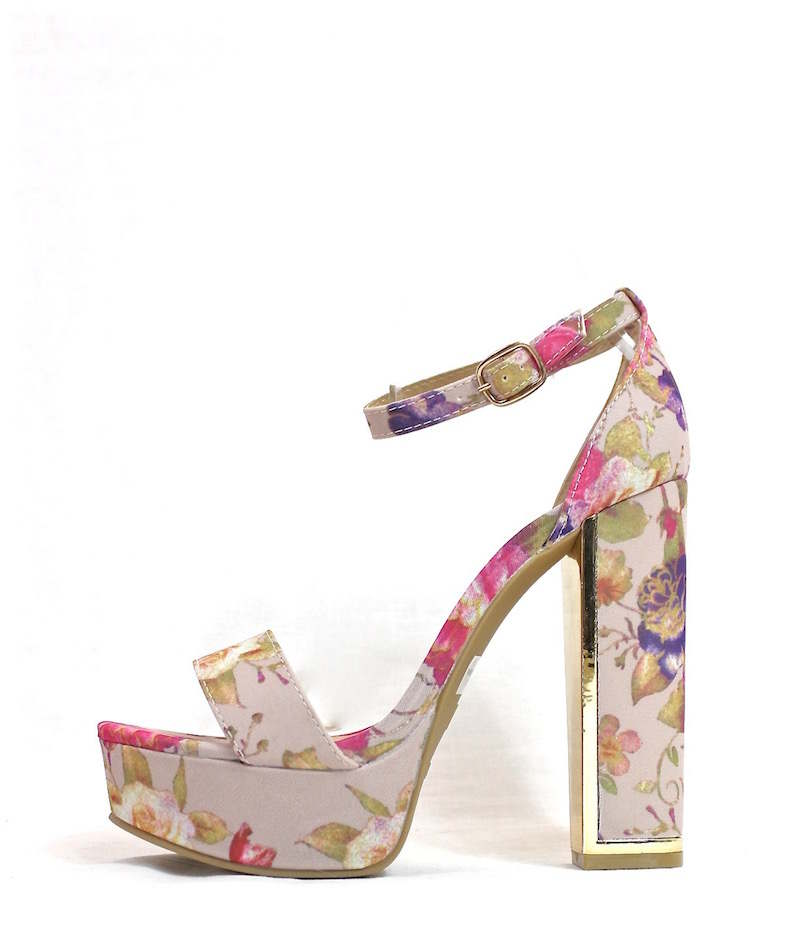 Floral Chunky Heels