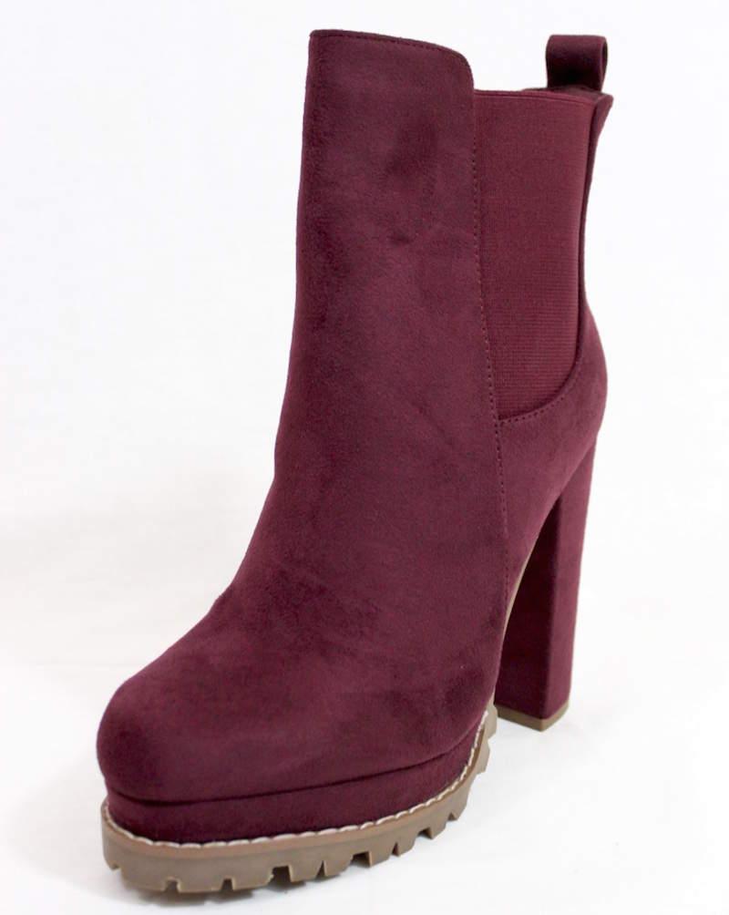 e39d18e40b3 almond toe chunky heel platform booties